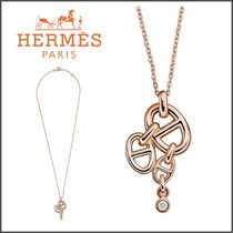 HERMES Blended Fabrics Chain With Jewels Elegant Style
