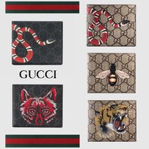 GUCCI GG Supreme Unisex Street Style Other Animal Patterns Leather