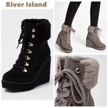 River Island Casual Style Faux Fur Plain Wedge Boots