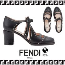 FENDI Round Toe Studded Leather Chunky Heels