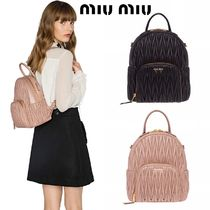 MiuMiu MATELASSE Plain Leather Logo Backpacks