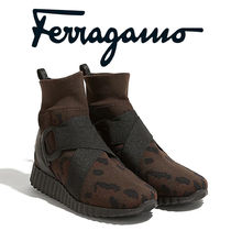 Salvatore Ferragamo Camouflage Casual Style Bi-color Leather Low-Top Sneakers
