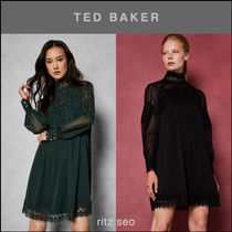 TED BAKER Short A-line Long Sleeves Plain High-Neck Lace Elegant Style