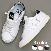 2STAR Star Street Style Plain Leather Low-Top Sneakers
