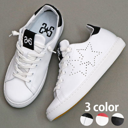 Star Street Style Plain Leather Low-Top Sneakers