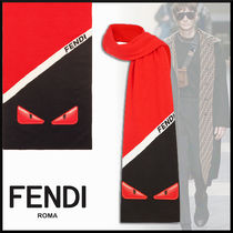 FENDI BAG BUGS Stripes Wool Scarves