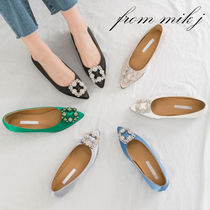 Plain Party Style With Jewels Pointed Toe Pumps & Mules