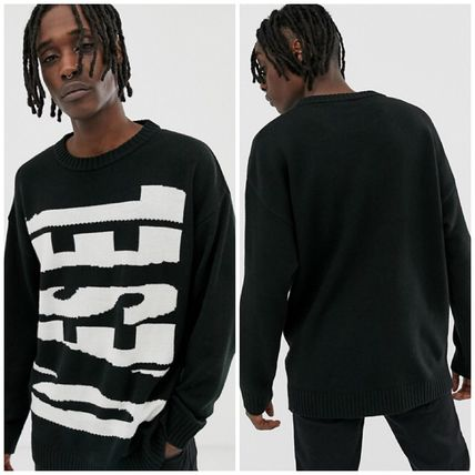 Crew Neck Cable Knit Wool Street Style Long Sleeves Plain