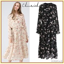 Chicwish Flower Patterns Flared Long Sleeves Medium Party Style