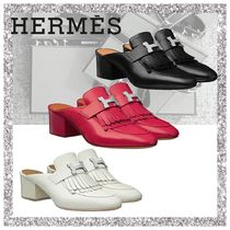 HERMES Plain Leather Fringes Chunky Heels Sandals