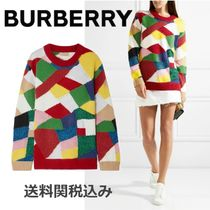 Burberry Crew Neck Cashmere Rib Long Sleeves Elegant Style Cashmere