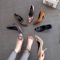 Suede Plain Pin Heels With Jewels Elegant Style