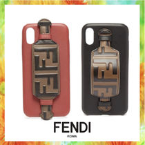 FENDI Unisex Blended Fabrics Street Style Leather