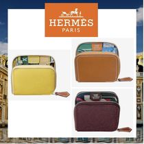 HERMES Silk In Calfskin Bi-color Coin Purses