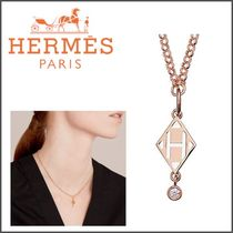HERMES Blended Fabrics Initial With Jewels Elegant Style