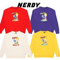 NERDY Unisex Street Style Long Sleeves Plain Cotton Sweatshirts