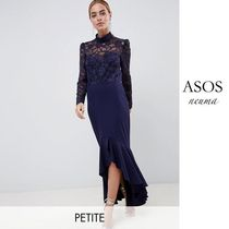 ASOS Maxi Blended Fabrics Long Sleeves Plain Long High-Neck Lace