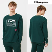 CHAMPION Crew Neck Unisex Collaboration Long Sleeves Cotton Tops