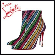 Christian Louboutin Stripes Suede Pin Heels Elegant Style Ankle & Booties Boots
