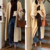 Casual Style Wool Street Style Plain Long Party Style Midi