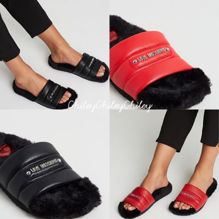 Open Toe Rubber Sole Casual Style Faux Fur Shower Shoes
