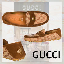 GUCCI Monogram Moccasin Suede Loafers & Slip-ons