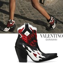 VALENTINO Cowboy Boots Casual Style Leather Chunky Heels