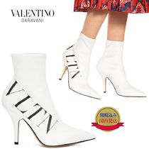 VALENTINO Plain Leather Pin Heels Elegant Style High Heel Boots