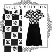 Louis Vuitton Crew Neck Silk Blended Fabrics Flared Bi-color Chain Medium