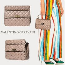 VALENTINO Studded 2WAY Chain Plain Elegant Style Shoulder Bags