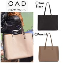 OAD NEW YORK Casual Style A4 Plain Leather Office Style Totes