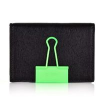 Off-White Plain Leather Card Holders