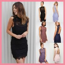 Free People Short Tight Sleeveless Party Style High-Neck Lace Dresses