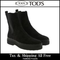 TOD'S Round Toe Rubber Sole Casual Style Suede Blended Fabrics
