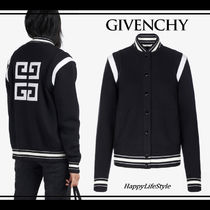 GIVENCHY Short Wool Blended Fabrics Plain Varsity Jackets