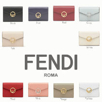 FENDI F IS FENDI Plain Leather Folding Wallets