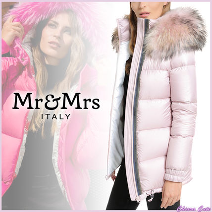 Fur Blended Fabrics Plain Medium Down Jackets