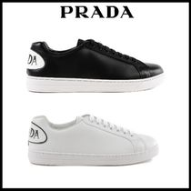 PRADA Unisex Street Style Plain Leather Sneakers