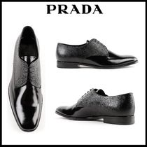 PRADA Unisex Street Style Plain Leather U Tips Oxfords