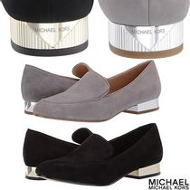 Michael Kors Suede Plain Block Heels Loafer Pumps & Mules