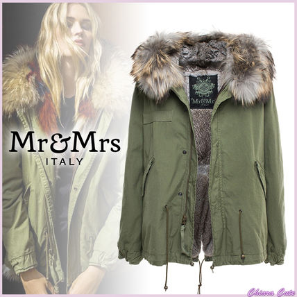 Short Fur Blended Fabrics Plain Khaki Down Jackets