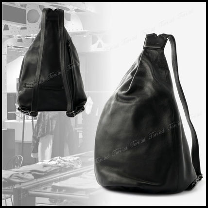 Unisex Plain Leather Backpacks