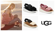 UGG Australia Open Toe Suede Plain Footbed Sandals Flat Sandals