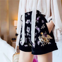 Short Flower Patterns Velvet Blended Fabrics Party Style
