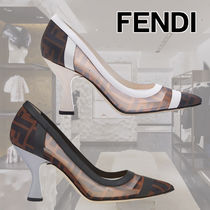 FENDI Blended Fabrics Leather Block Heels Elegant Style