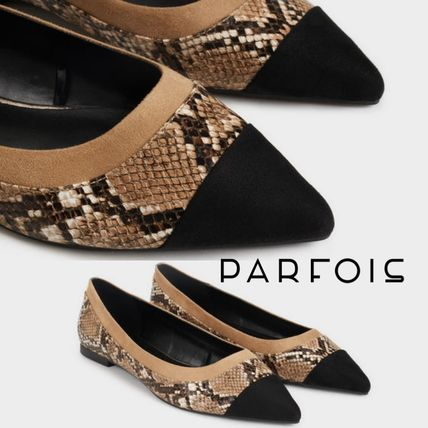 Casual Style Faux Fur Python Pointed Toe Pumps & Mules