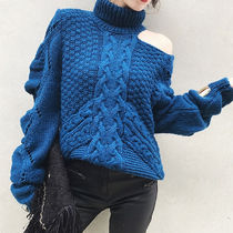 Cable Knit Other Check Patterns Casual Style Street Style