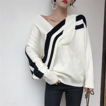 Cable Knit Casual Style Street Style V-Neck Bi-color Plain