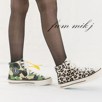 Camouflage Leopard Patterns Rubber Sole Lace-up Street Style