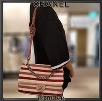 CHANEL ICON Stripes Blended Fabrics 2WAY Bi-color Chain Elegant Style